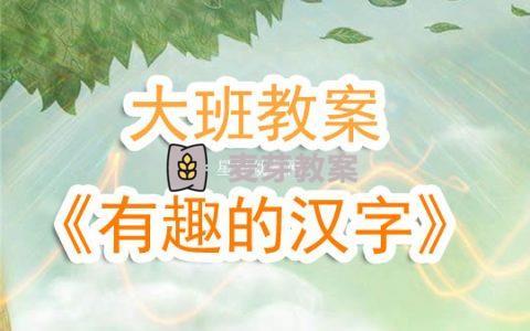幼兒園大班教案《有趣的漢字》含反思